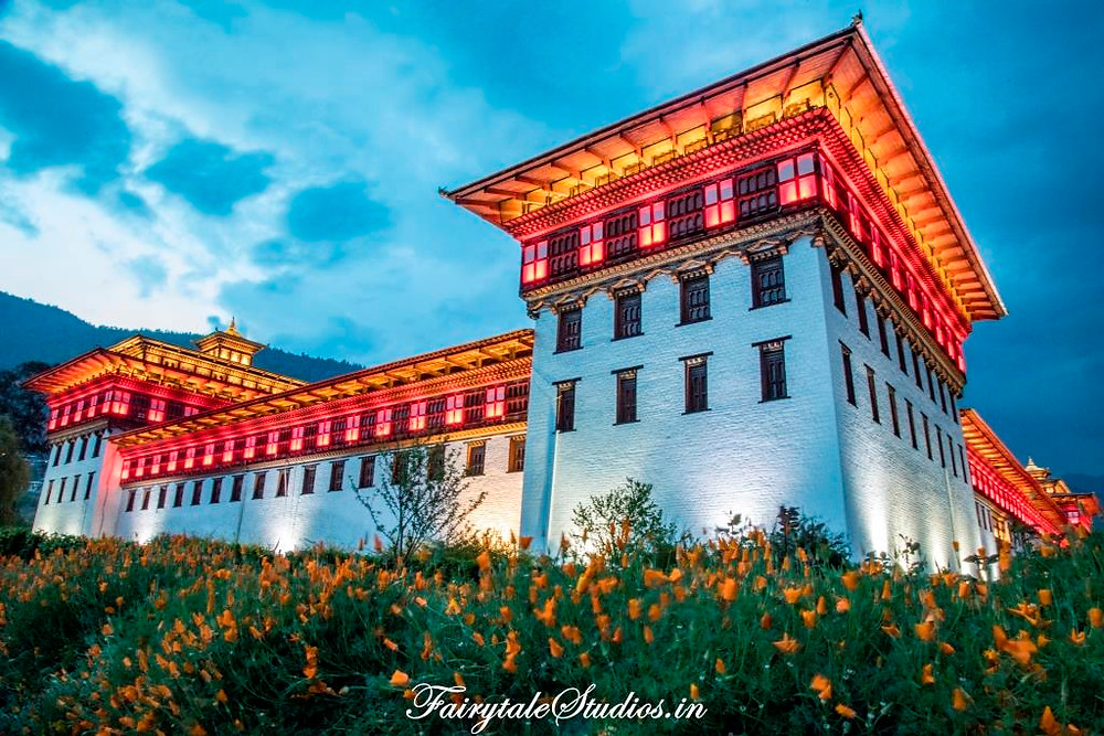 Tashichho Dzong illuminated with beautiful array of lights in the evening-Thimphu_The Bhutan Odyssey_Places to visit in Thimphu