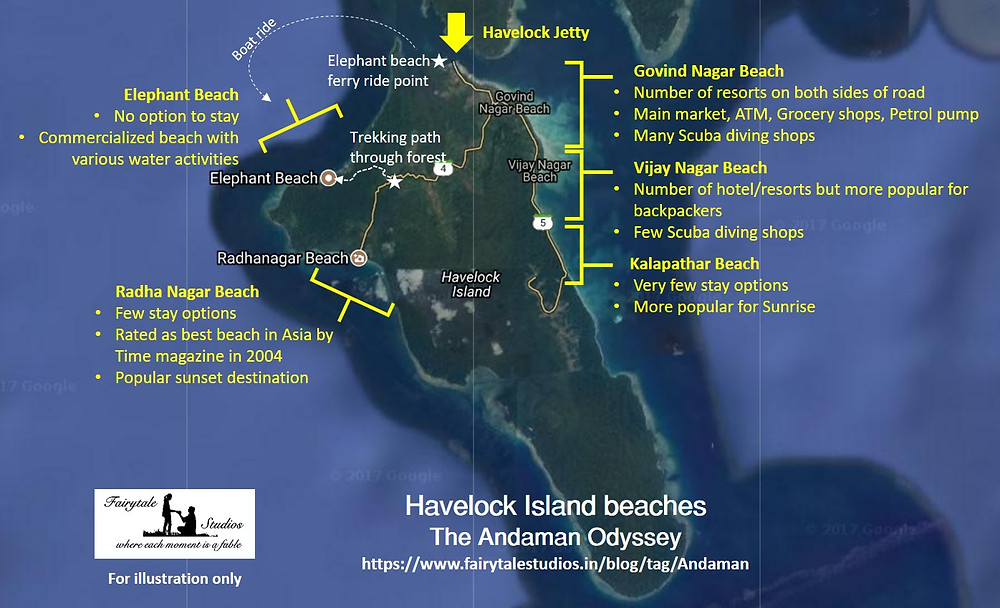 Map of beaches to visit in Havelock Island_The Andaman Odyssey_Fairytale Travels