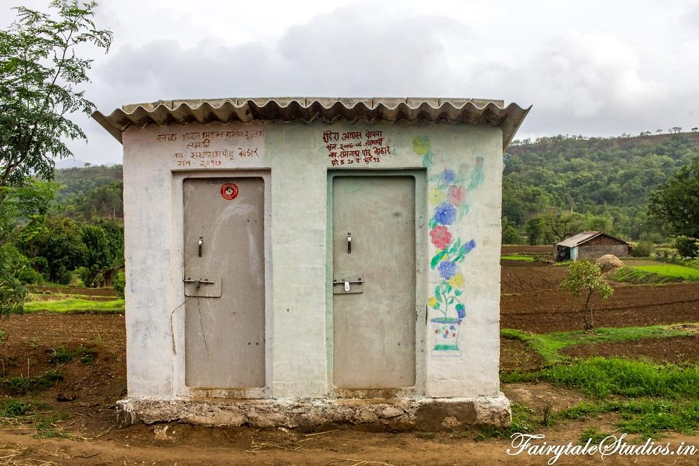 The toilets constructed under 'Swachh Bharat' initiative in Purushwadi village, Maharashtra, India