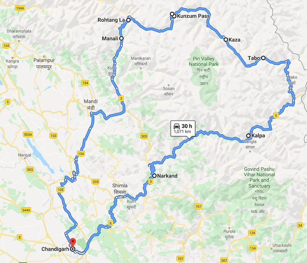 Round circuit route to Spiti Valley entering from Shimla and exiting via Manali_Plan your trip to Spiti Valley