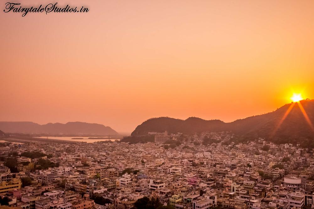 The city of Vijayawada seen during a beautiful sunset
