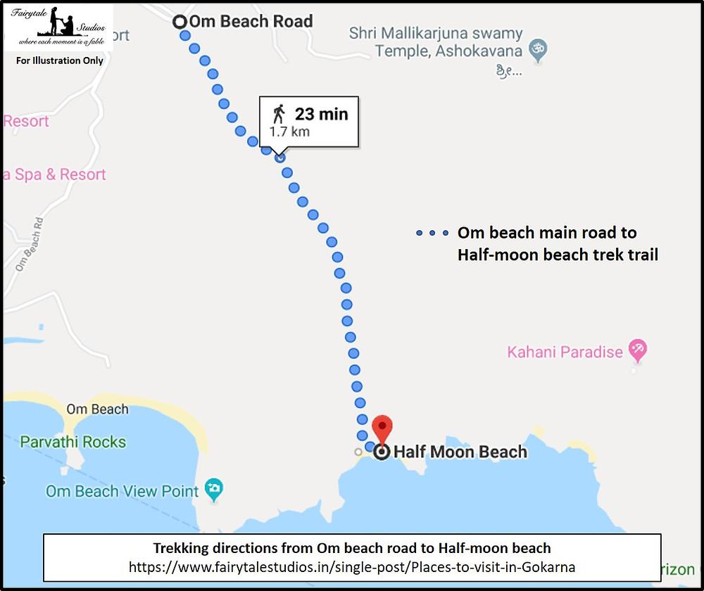 Trekking directions from Om beach main road to Half-moon beach in Gokarna