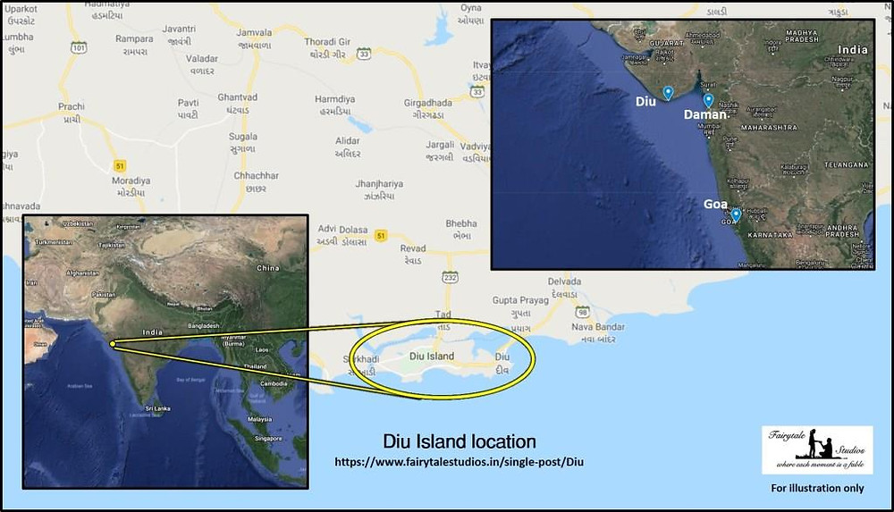 Location of Daman, Diu and Goa in India