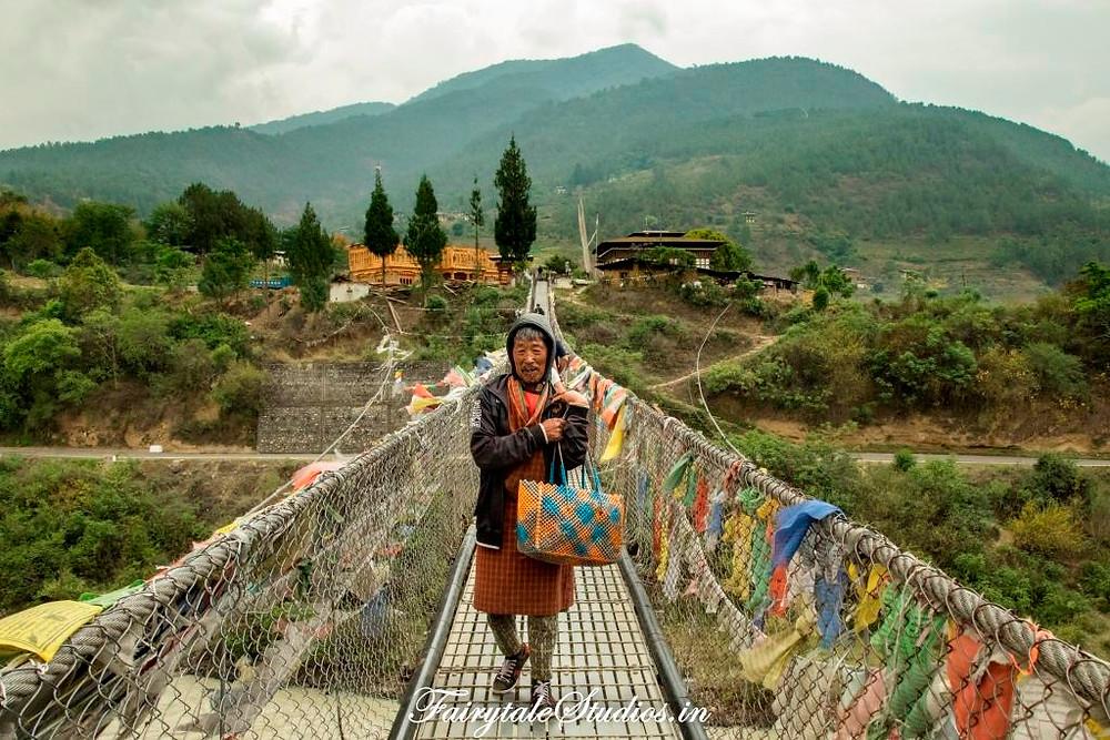 Old man at Punakha suspension bridge, Bhutan