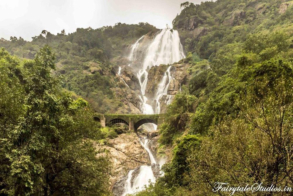 The railway bridge in front of Dudhsagar waterfalls, Goa - India