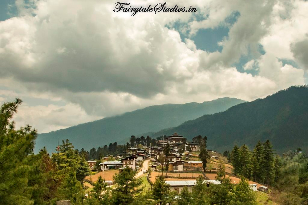 Gangtey monastery which the black necked cranes encircle 3 times while arriving and departing Phobjikha or Gangtey Valley, Bhutan