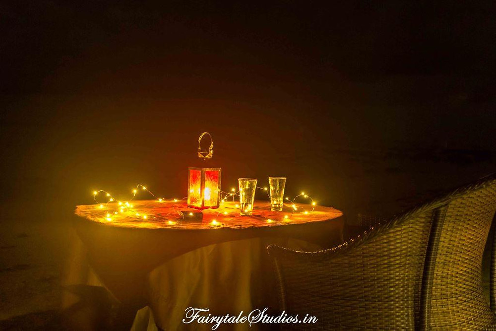 The candle light dinner with our fairy lights on govind nagar beach at Symphony Palms beach resort, Havelock