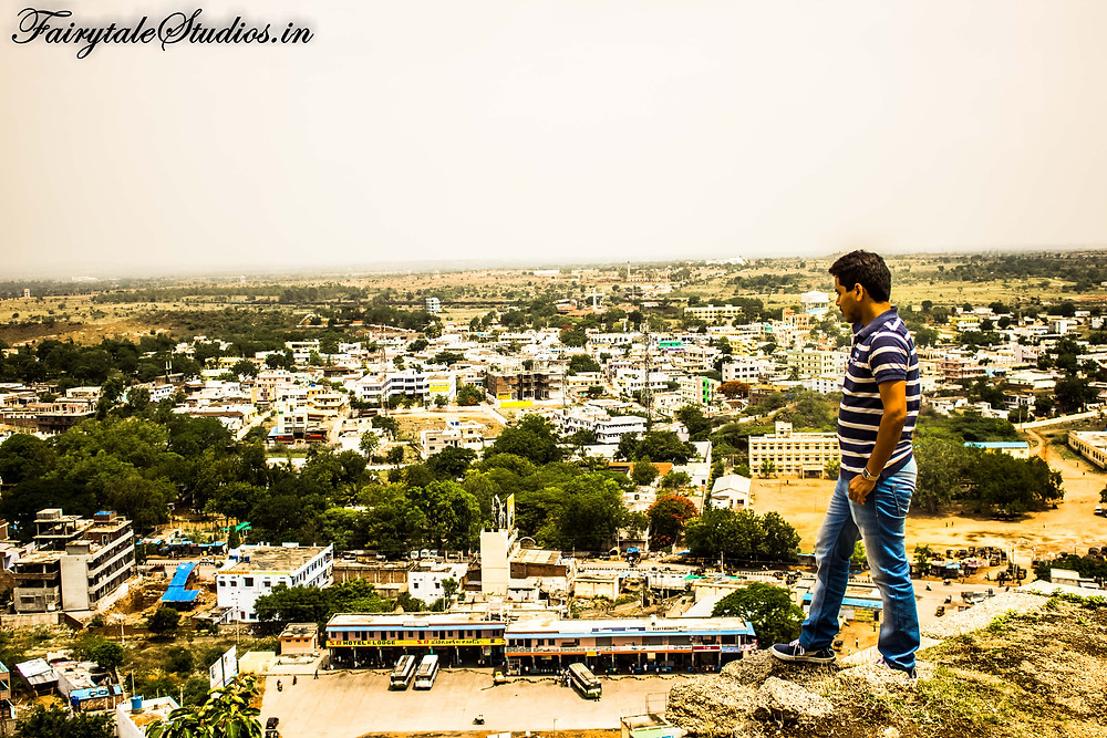 View of the bhongir town. The bus stand below is seen clearly here