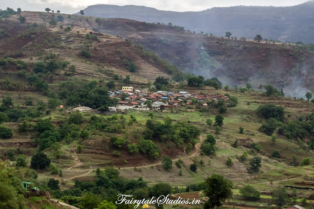 Purushwadi village as seen from the top of a hill at Purushwadi village, Maharashtra, India