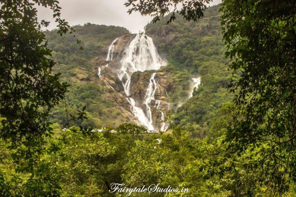 Dudhsagar falls with a train passing on the railway bridge from the viewpoint, Goa - India
