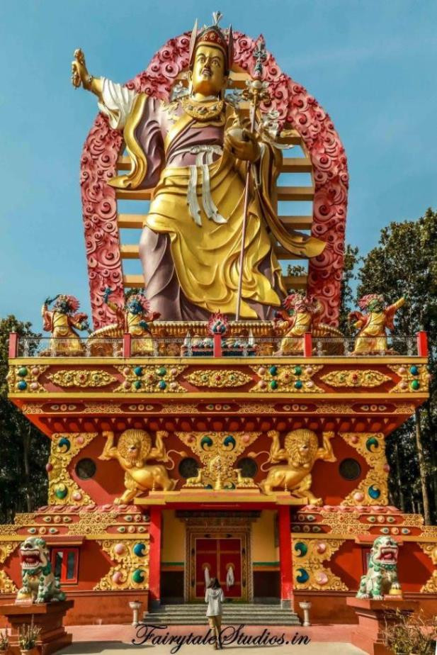 Colorful statue of Guru Rinpoche or Padmasambhavana at Mindrolling monastery complex, Clement Town - Dehradun, Uttarakhand - India