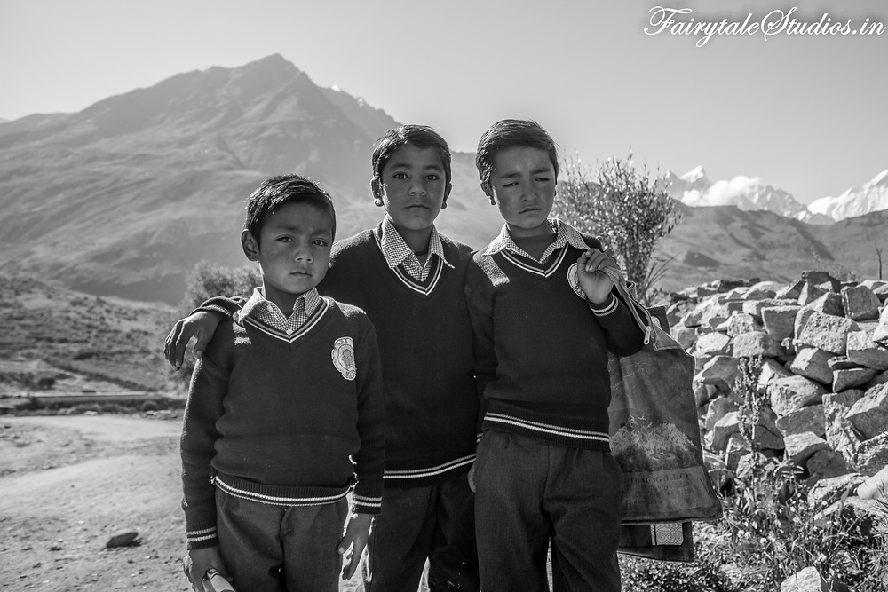 Kids posing for a photograph while going to school (The Zanskar Odyssey Travelogue)
