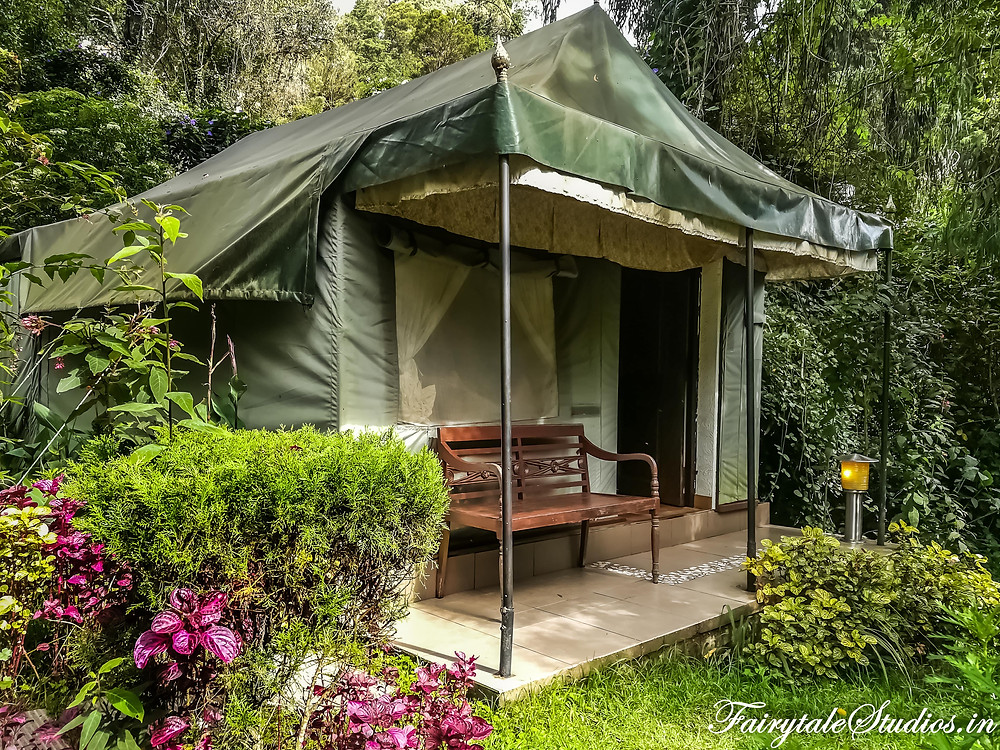 Our Swiss tents with a bench outside @The Fern Creek, Kodaikanal, India