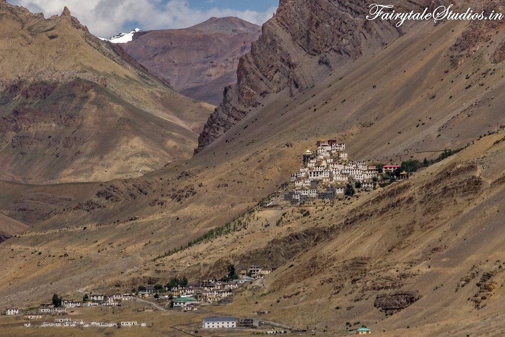 The iconic Key monastery surrounded by barren hills, Spiti Valley