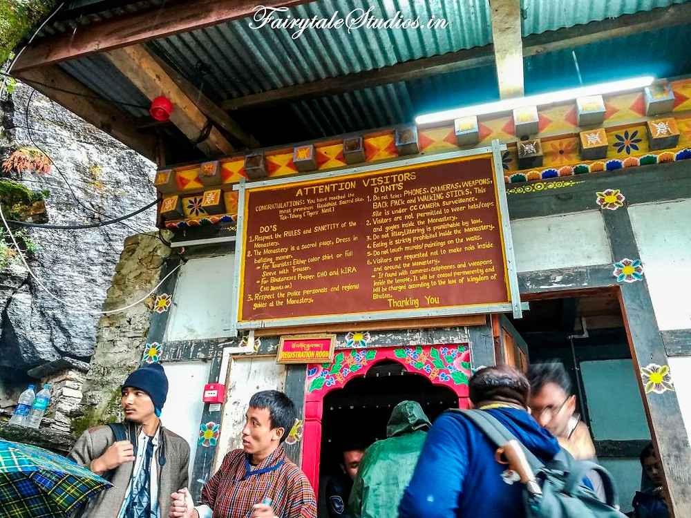 Outside the Taktsang monastery, you can get keys to locker here