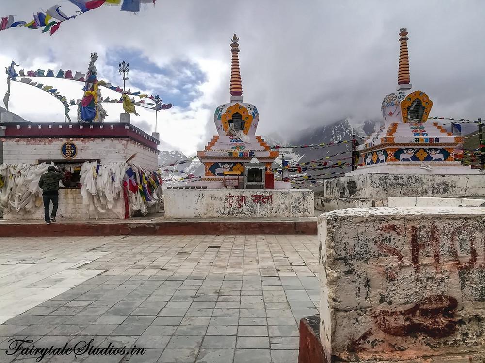 Stupas and temple of Goddess Durga at Kumzum Pass, Spiti Valley - Himachal Pradesh, India