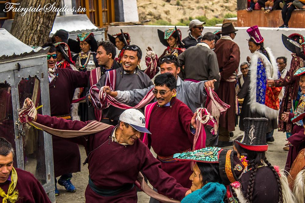 People celebrating Mentok Stano in Mulbekh monastery (The Zanskar Odyssey travelogue)