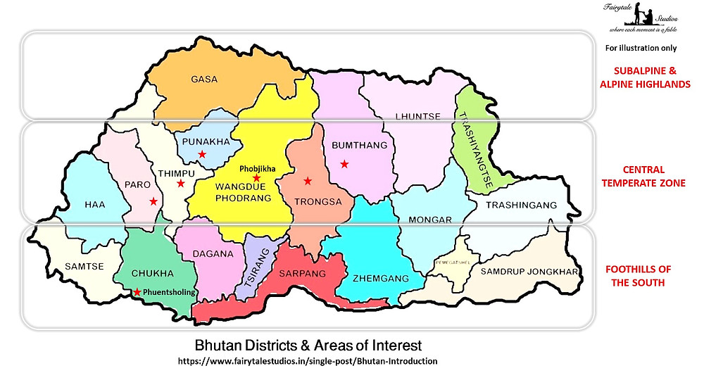 Districts and Areas of Interest in Bhutan divided based on geography - The Bhutan Odyssey