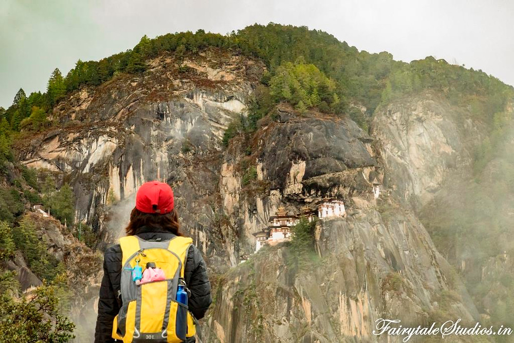Last views of the majestic Taktsang monastery (Tigers Nest) in Paro, Bhutan