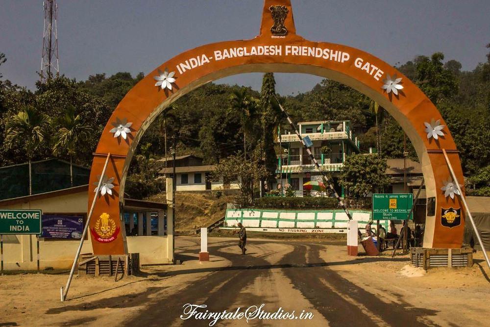 Newly constructed India Bangladesh friendship gate at Tamabil zero point