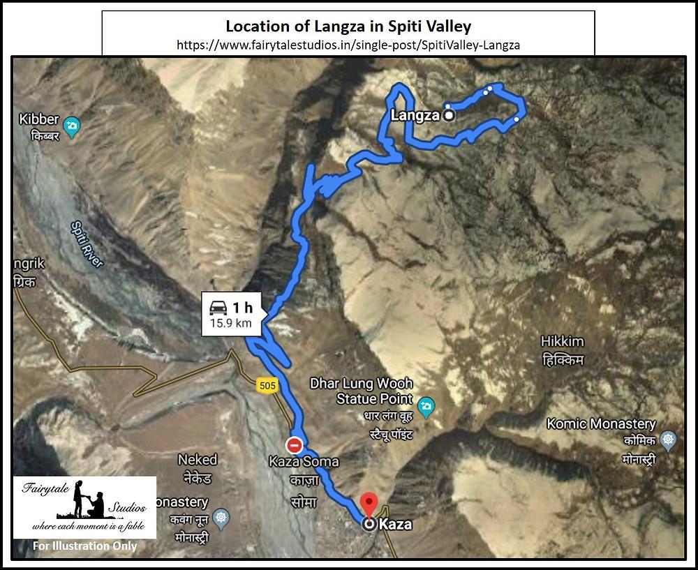 Location of Langza village in Spiti Valley - Himachal Pradesh, India