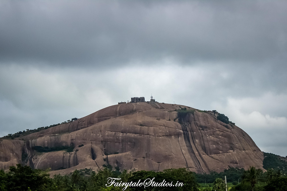 Bhongir fort visible from highway towards warangal