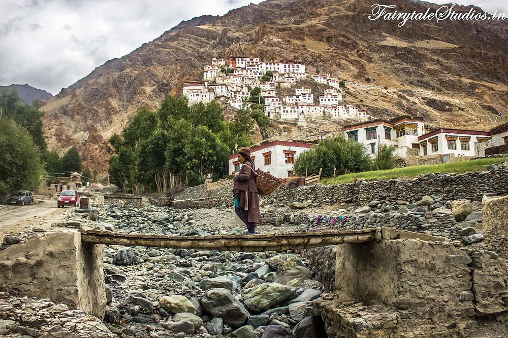 A lady going to work in fields as we see Karha Monastery in the backdrop  (The Zanskar Odyssey travelogue)