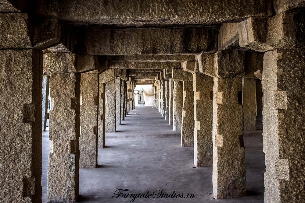 Symmetry of rock pillars near Achutaraya temple in Hampi