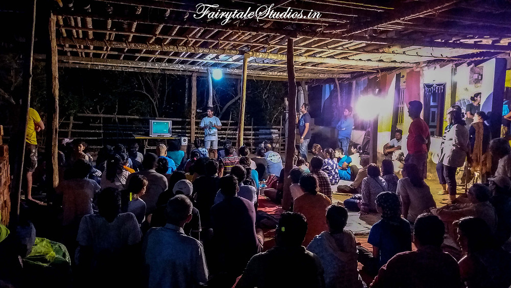 The documentary being played followed by Q&A session at verandah of Mr. Mohan's house for increasing awareness of tourists at turtle festival, velas, India