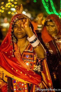 Tribal women dance in Dussehra carnival of Srisailam