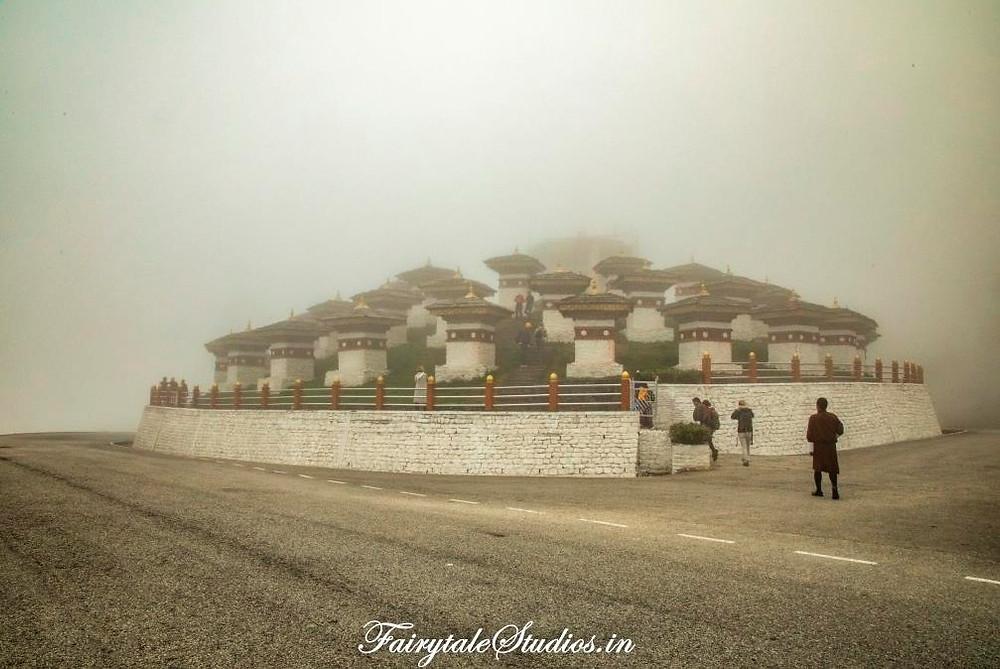 The 108 chorten of Dochula Pass between Thimphu and Punakha - Bhutan