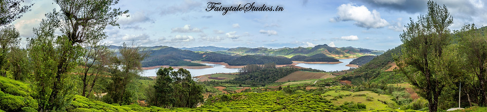Panaromic view of Emerald lake from Red hills nature resort, Ooty, India