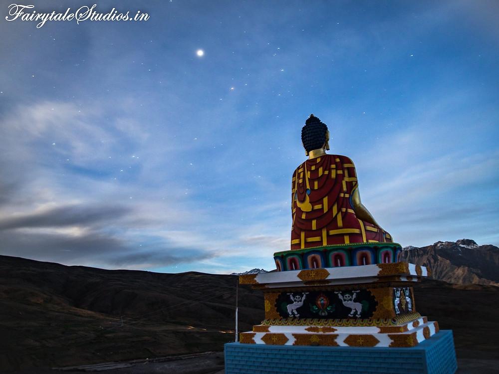 Buddha statue in Langza village shot in the starry night - Spiti Valley, Himachal Pradesh, India