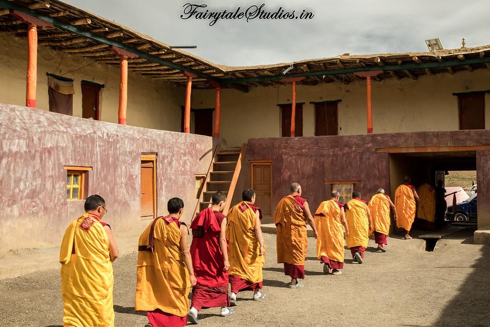 Monk rally in Tangyud monastery at Komik village, Spiti Valley - Himachal Pradesh, India
