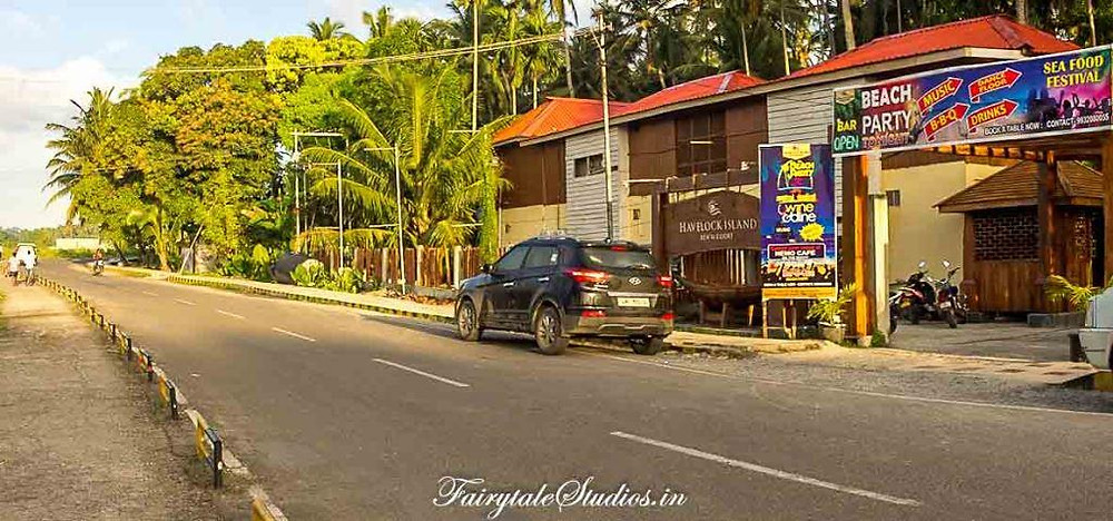The entrance of Havelock Island Beach Resort spells beach party and seafood festival