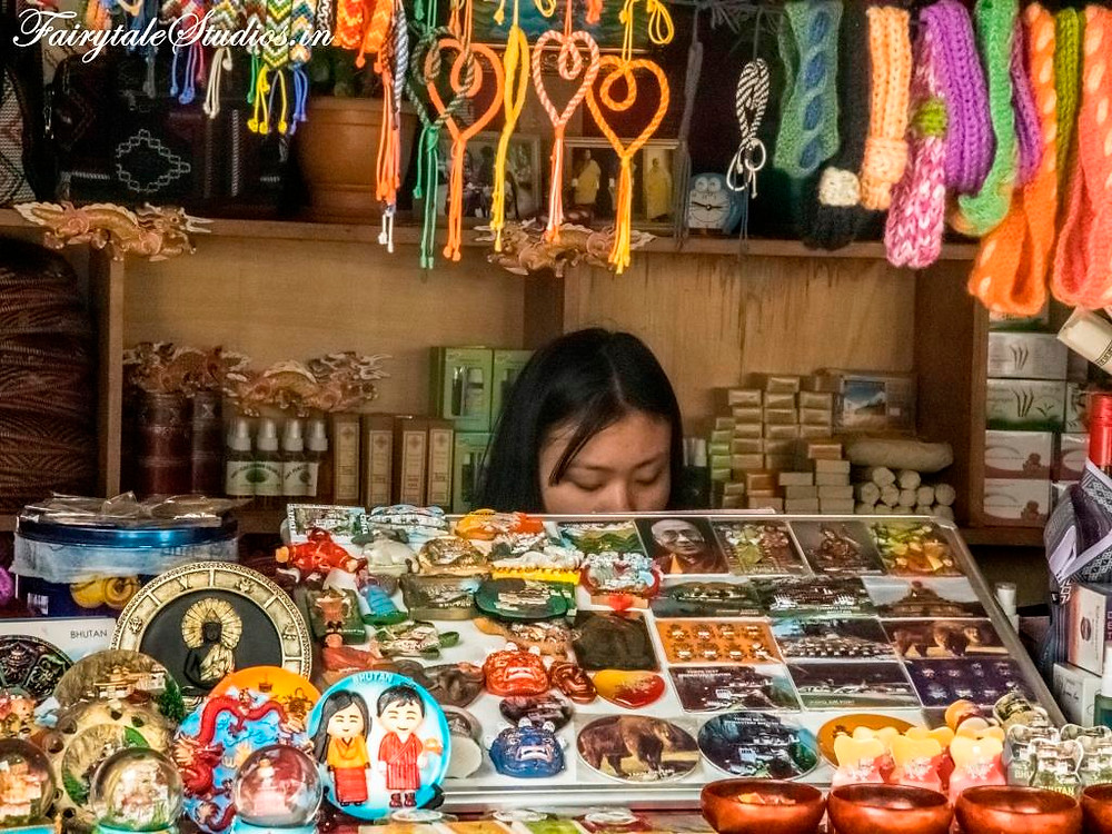 A lady selling trinkets at Thimphu market, Bhutan
