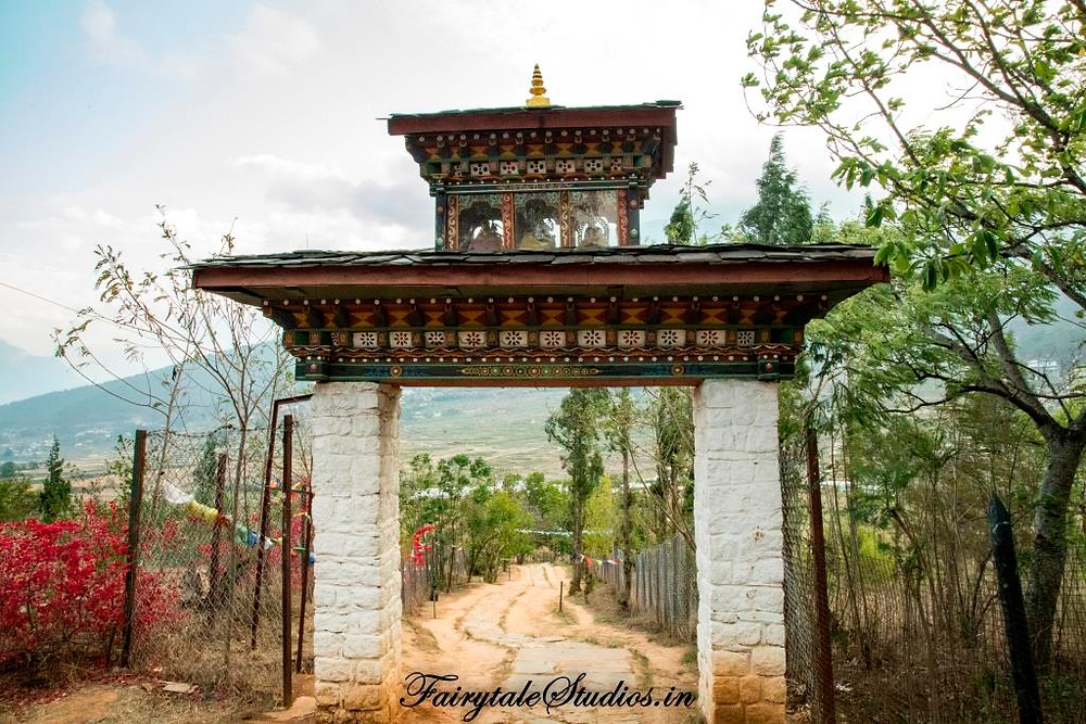 Entrance gate to Chimi Lhakhang, Punakha - Bhutan
