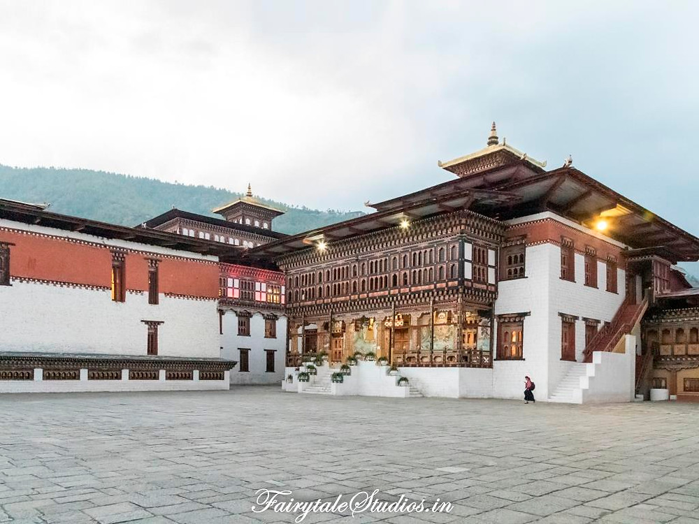 Beautiful courtyard inside Tashichho Dzong, Thimphu