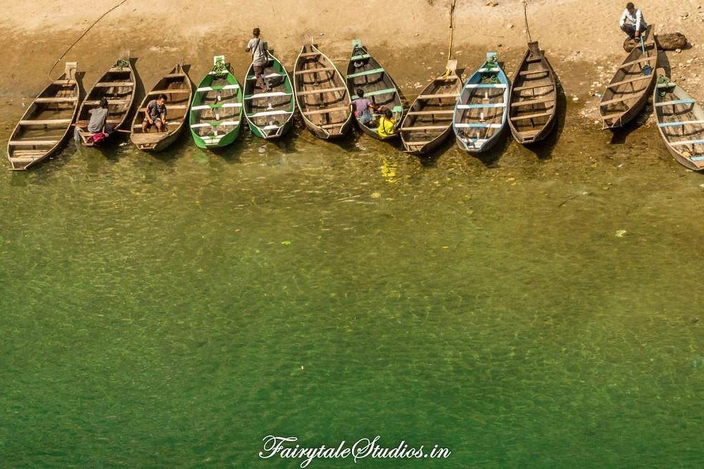 Boats lined up near boating point at Dawki, Meghalaya