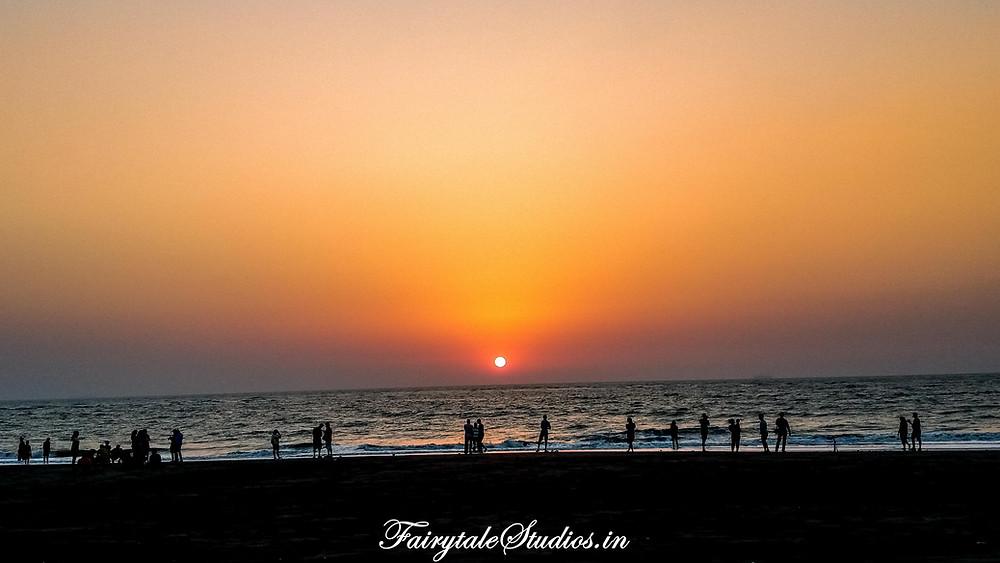 A beautiful sunset at the Velas beach, Maharashtra, India