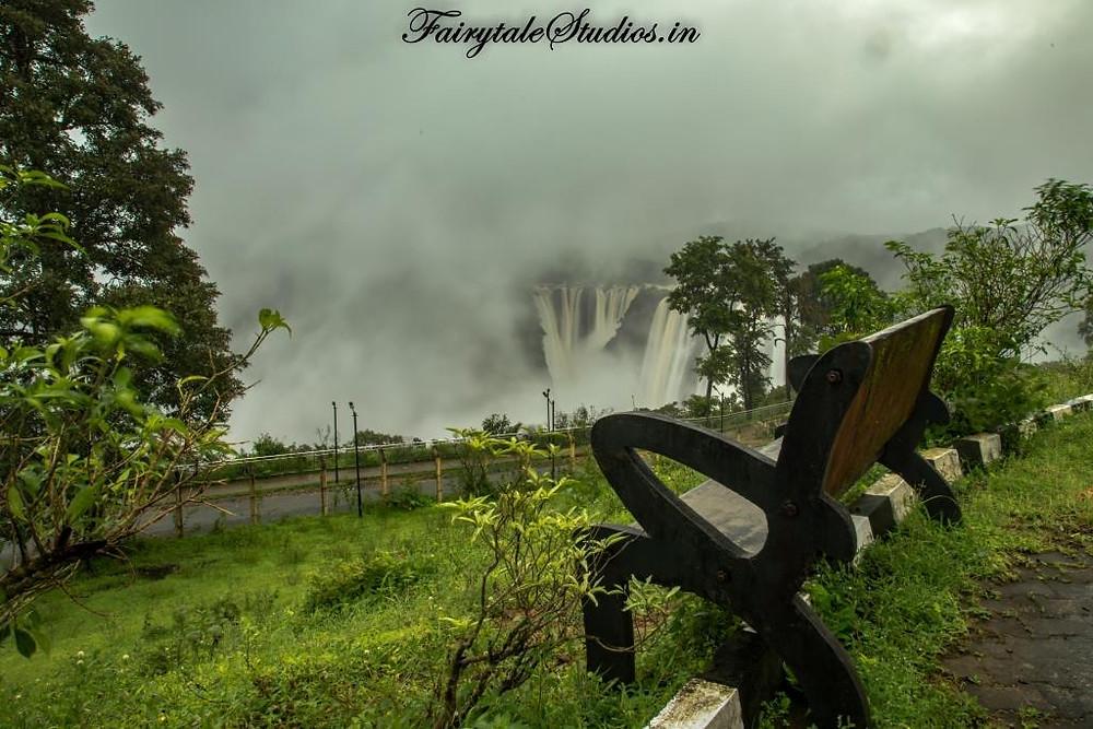 Seats installed at the viewpoint at Jog Falls, Karnataka - India