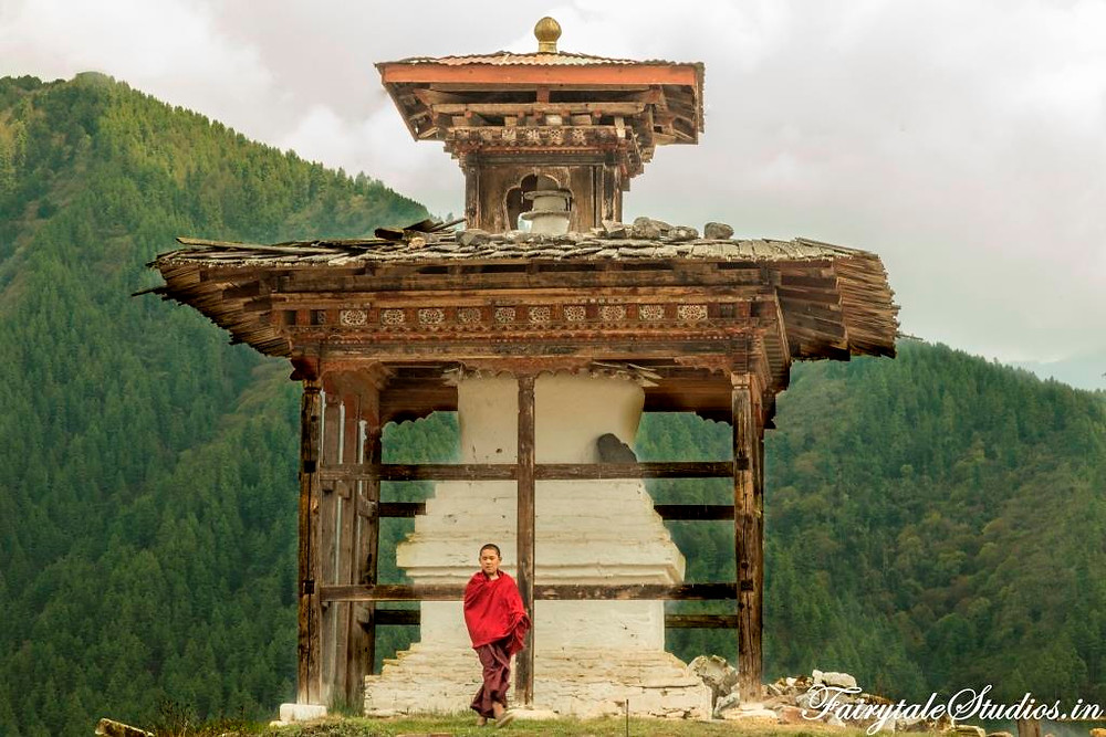 A nun at a nunnery in Punakha, Bhutan