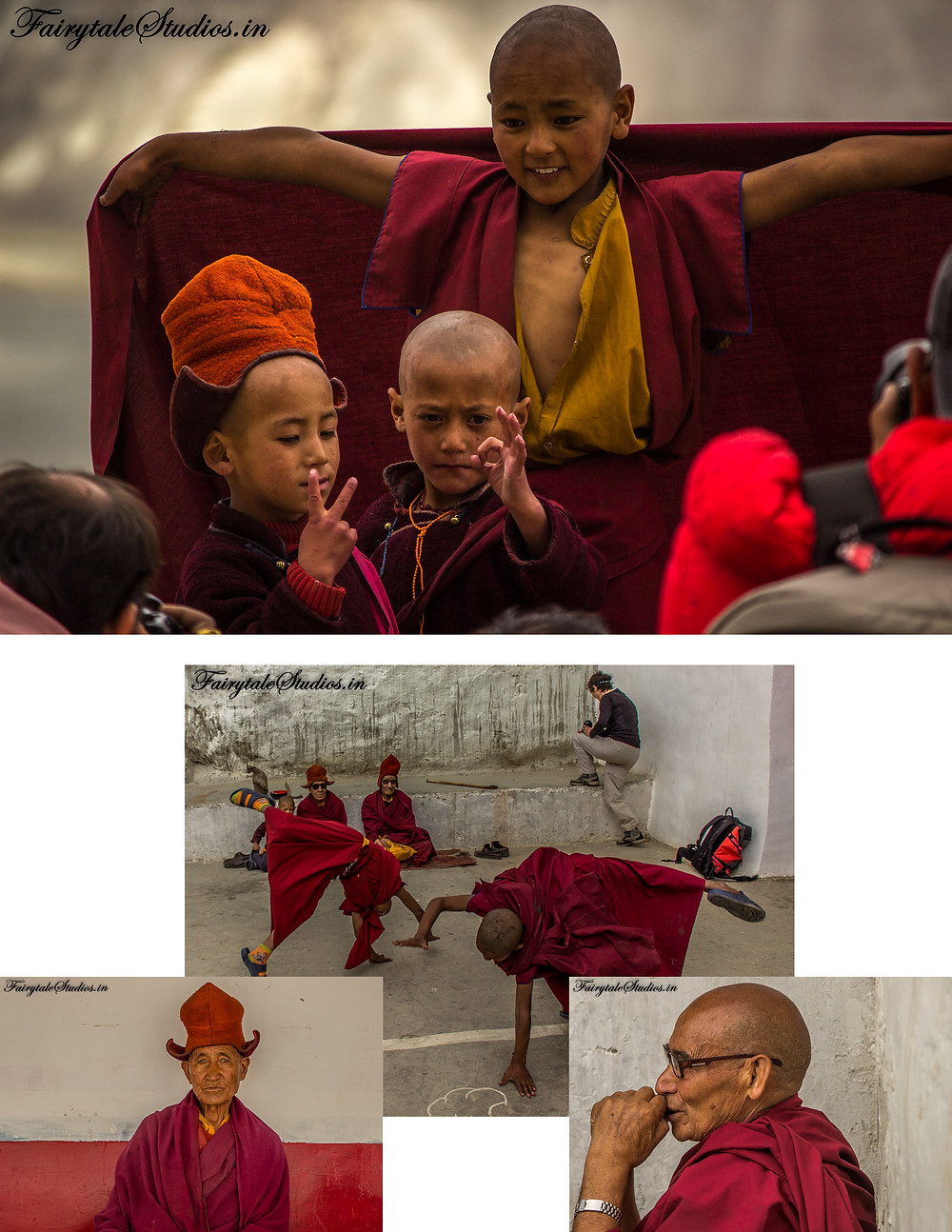 Child monks playing and posing for us as older monks watch in amusement (The Zanskar Odyssey Travelogue)