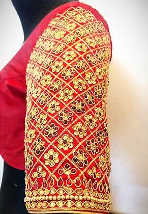 Gridwork kundan blouse