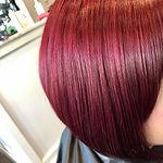 cherry red hair graduated bob Rosie Bayl