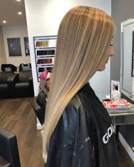 bright blonde balayage