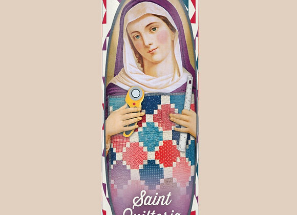 Saint Quiltoria candle for quilters
