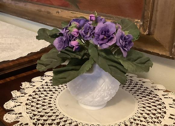 Milk Glass Ruffle Edge Vase