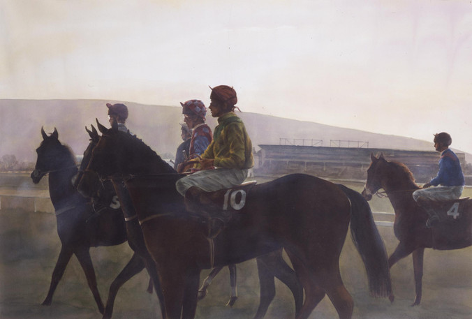 Jockeys at the Start, Cheltenham, Watercolour