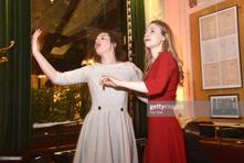 Loue Echalier et Claudie Russo-Pelosi. Soirée du centenaire de Boris Vian le 9 Mars 2020 aux Deux Magots, Paris.